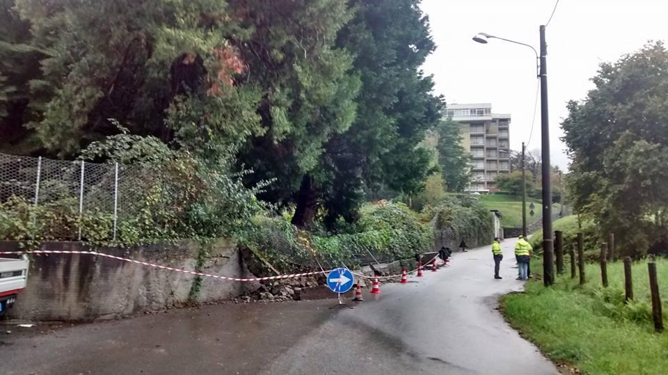 Lo smottamento a Germignaga, in via Cazzane
