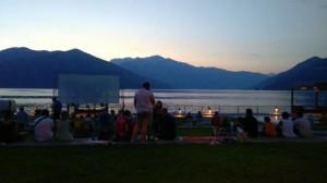 Luino: il Parco a Lago, ieri sera, prima della proiezione del film di Ficarra e Picone (facebook.com)