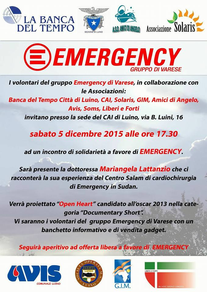 """Luino: sabato 5 dicembre """"Open Heart"""", il documentario di """"Emergency"""" che racconta la storia di otto bambini ruandesi"""