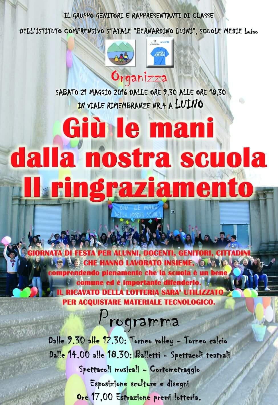 """Luino, """"Giù le mani dalla nostra scuola"""" : il 21 maggio ci sarà la seconda festa"""
