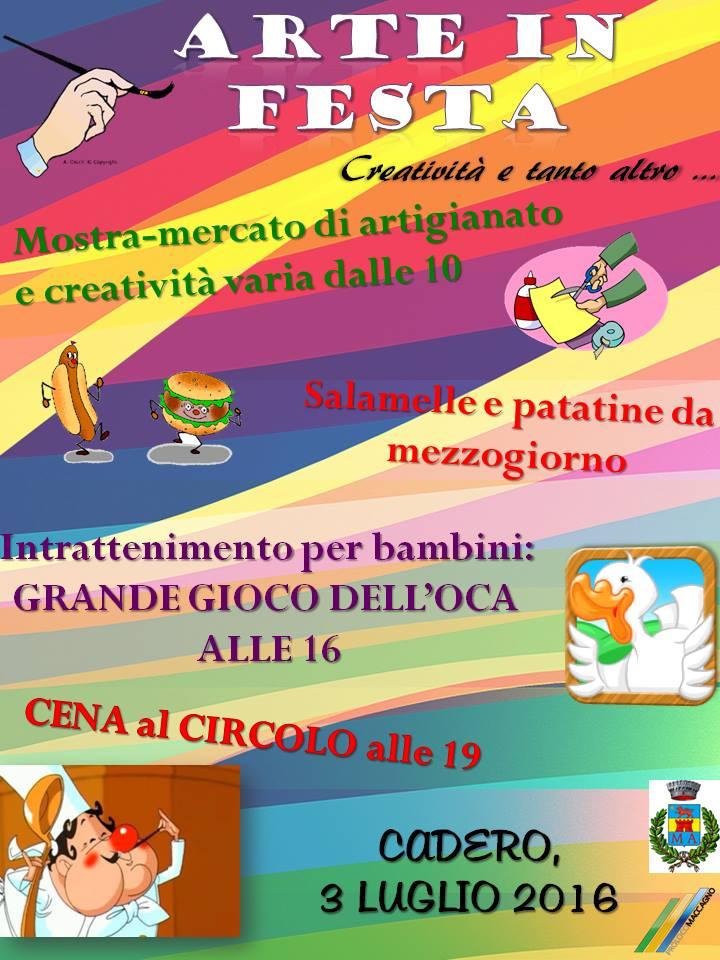 """Maccagno, domenica 3 luglio Cadero """"Arte in Festa"""""""