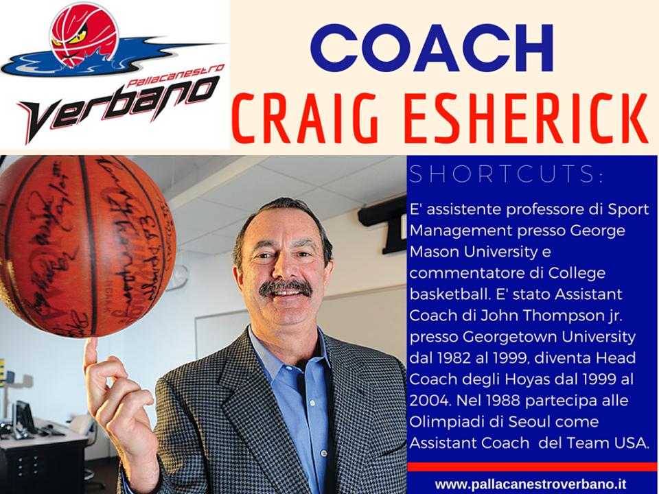 Direttamente dagli States coach Craig Esherick una settimana in visita alla Pallacanestro Verbano Luino