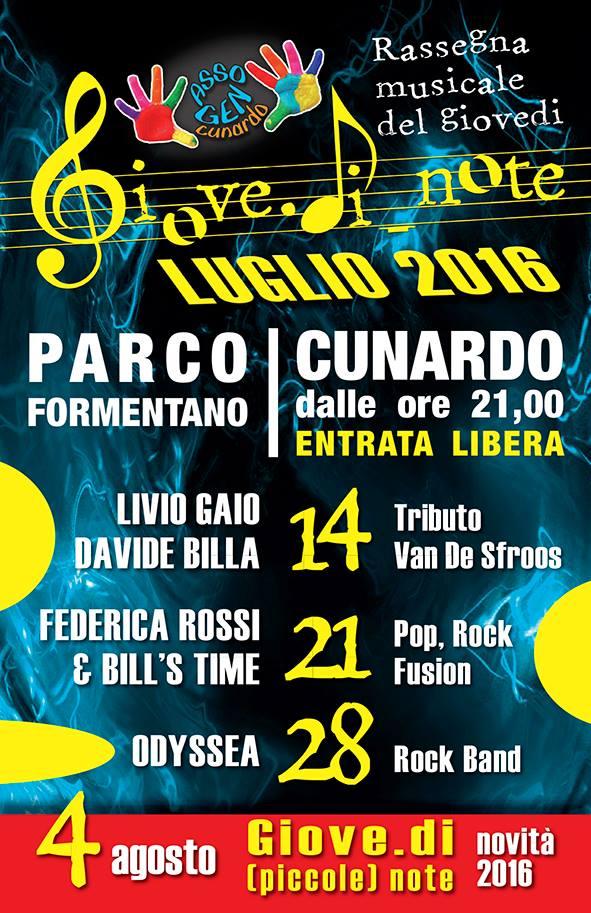 """Cunardo, questa sera torna la rassegna musicale """"Giove.di.note"""". Appuntamenti fino al 4 agosto"""