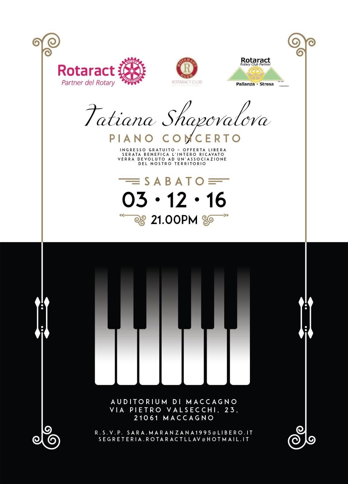 Maccagno, sabato concerto di pianoforte benefico con Tatiana Shapovalova