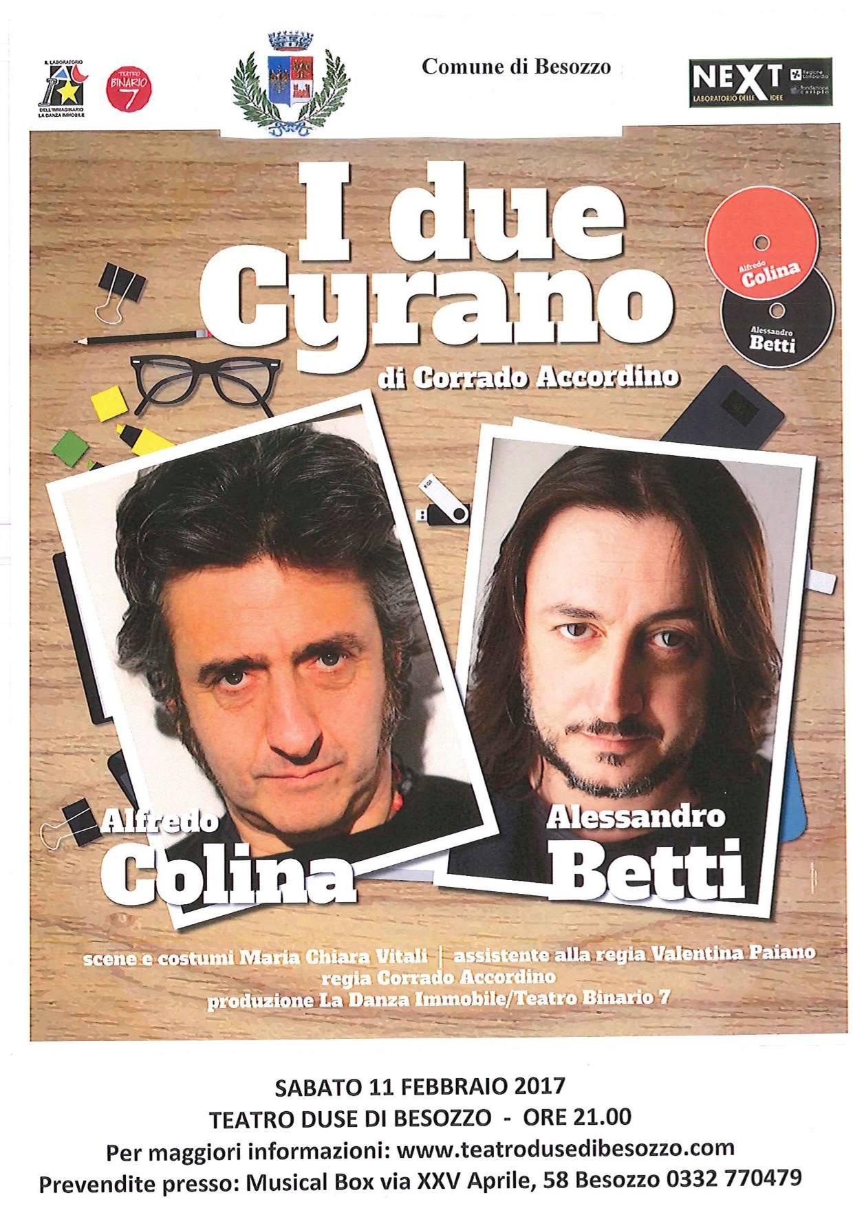 """Besozzo, sabato al teatro Duse andrà in scena lo spettacolo """"I due Cyrano"""""""