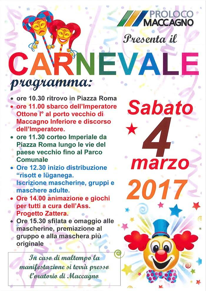 Sabato 4 l'Imperatore Ottone I sbarca a Maccagno e il Carnevale 2017 con lui