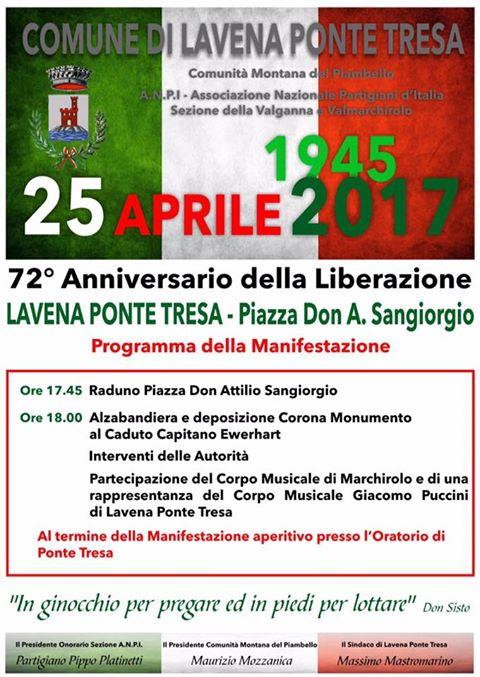 Lavena Ponte Tresa, in programma per martedì la celebrazione del 72^anniversario della Liberazione