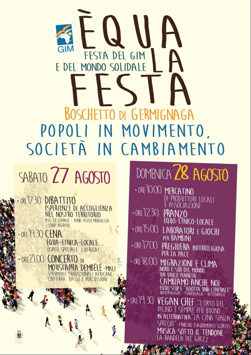 """Germignaga torna """"ÉQUA LA FESTA"""": sabato e domenica Festa del GIM e del mondo solidale"""