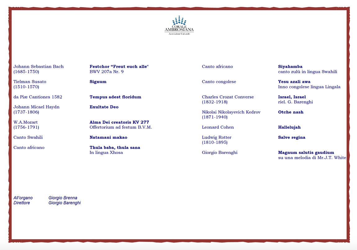 """Luino: domani sera al Santuario del Carmine la """"Corala Ambrosiana"""" di Milano per """"Nzong"""""""