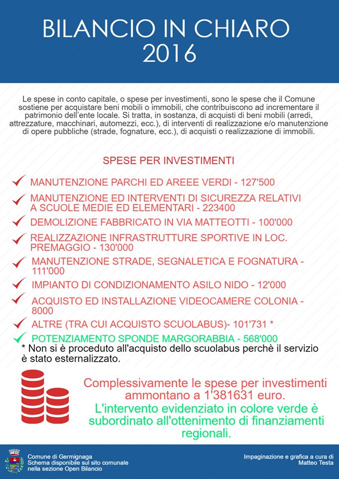 Germignaga: la pubblicazione del Bilancio in Chiaro giunge al suo terzo anno. Ecco quello del 2016