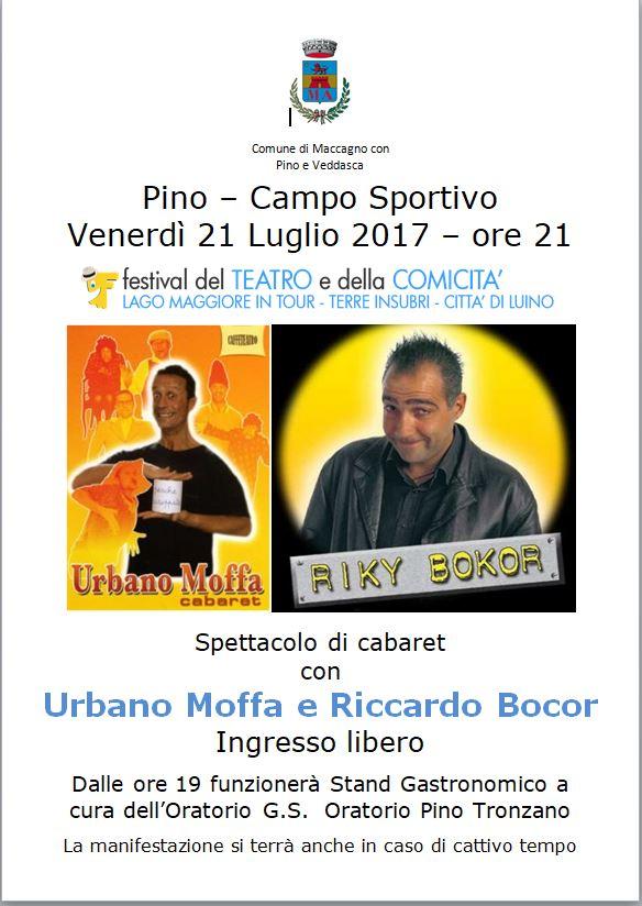 Venerdì sera il Festival della comicità fa tappa a Pino, protagonisti Urbano Moffa e Riccardo Bokor