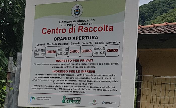 Apertura straordinaria estiva della piazzola ecologica a Maccagno