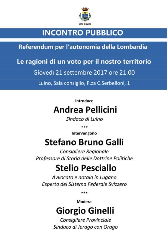 Martedì a Luino un incontro sul Referendum per l'Autonomia della Lombardia
