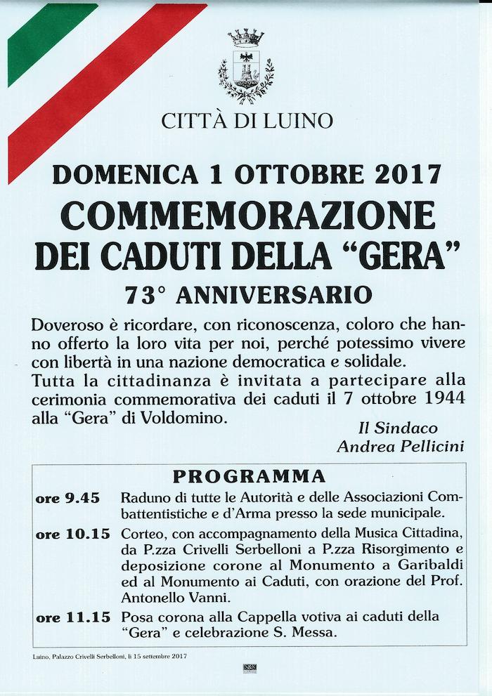 Da domenica si celebra il 73esimo anniversario dell'eccidio della Gera di Voldomino