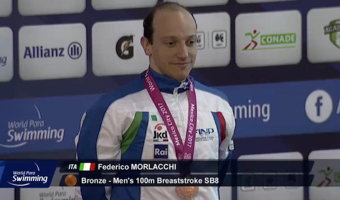 Mondiali di Nuoto Paralimpico, in Messico cinquina di Morlacchi: bronzo nei 100 rana SB8
