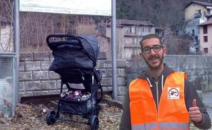 """""""Strade Pulite"""", papà Daniele e il piccolo figlio Diego ripuliscono la pista ciclabile"""