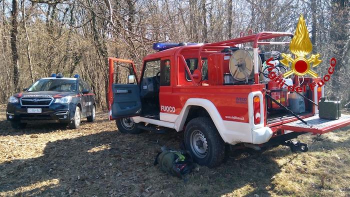 Incendio in un bosco di Cunardo, intervengono i vigili del fuoco