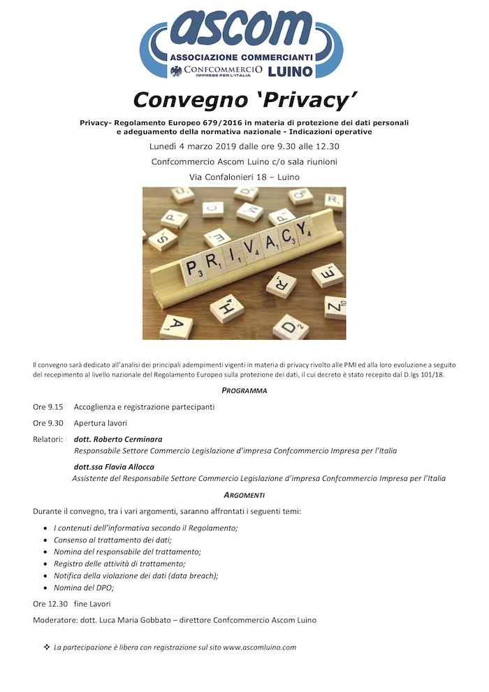 Un incontro per parlare della normativa privacy con l'Ascom Luino