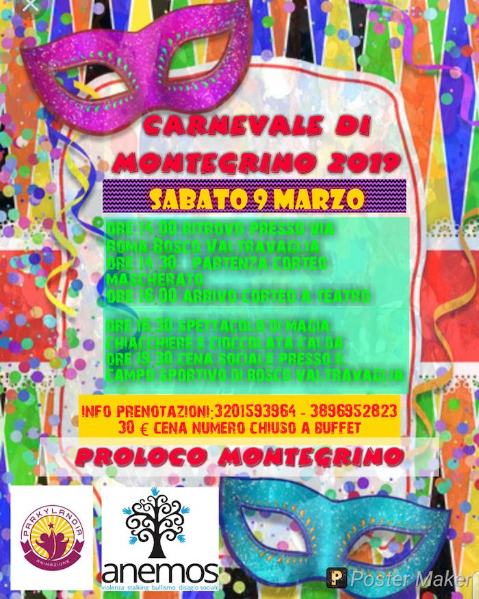 Carnevale: anche a Montegrino in programma sfilate, maschere e carri allegorici