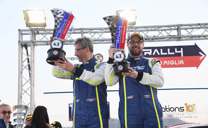 Rally, ottimo inizio di CIWRC per Miele ed il luinese Mometti: secondi assoluti al 1000 Miglia