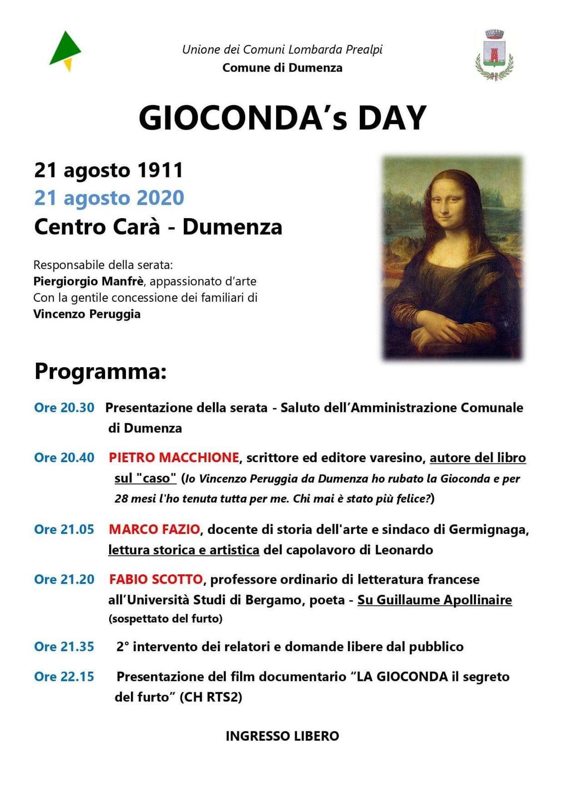A Dumenza una serata dedicata alla scoperta delle dinamiche del furto della Gioconda in occasione del 109esimo anniversario dell'evento