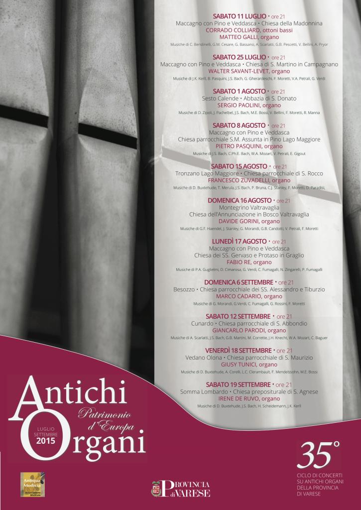 """Il programma 2015 di """"Antichi Organi"""""""
