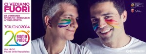 """La locandina del """"Gay Pride"""" di Roma (twitter.com)"""
