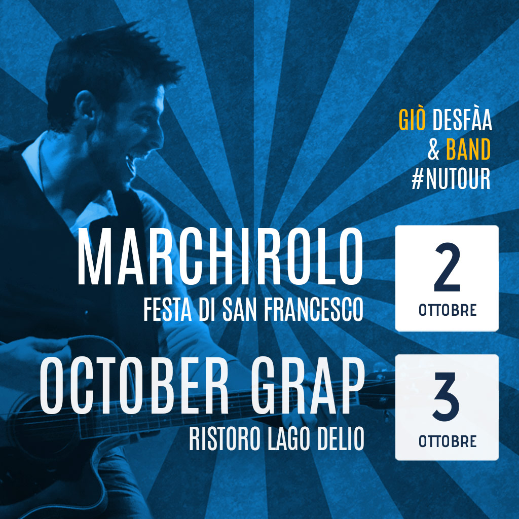 Giò DeSfàa e la band a Marchirolo venerdì e sabato al Lago Delio per l'apertura dell'October Grap