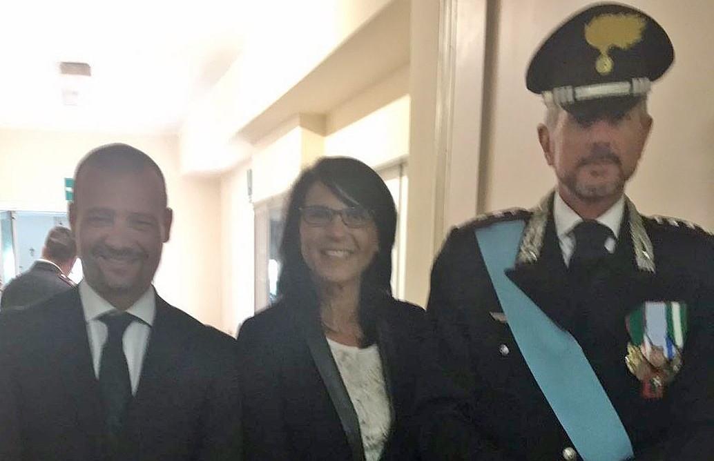 Il vicesindaco di Luino, Alessandro Casali, la Consigliera Regionale Francesca Brianza e il Capitano Francesco Spera