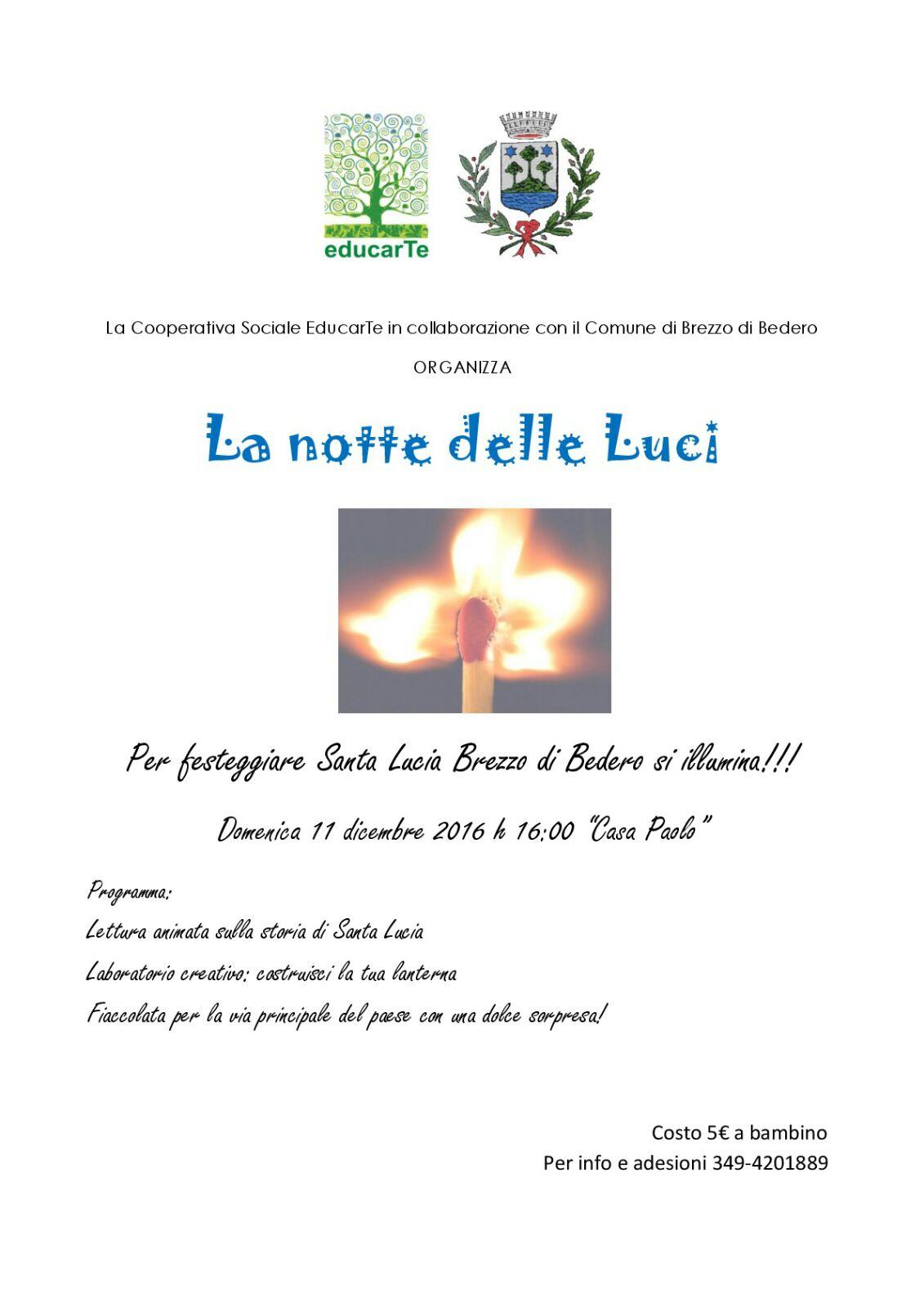 """Brezzo di Bedero, """"La notte delle Luci"""" per festeggiare Santa Lucia"""
