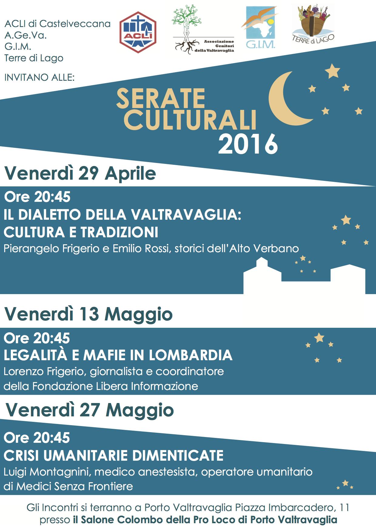 """A Porto Valtravaglia le """"Serate Culturali 2016"""": si inizia domani sera al Salone Colombo"""