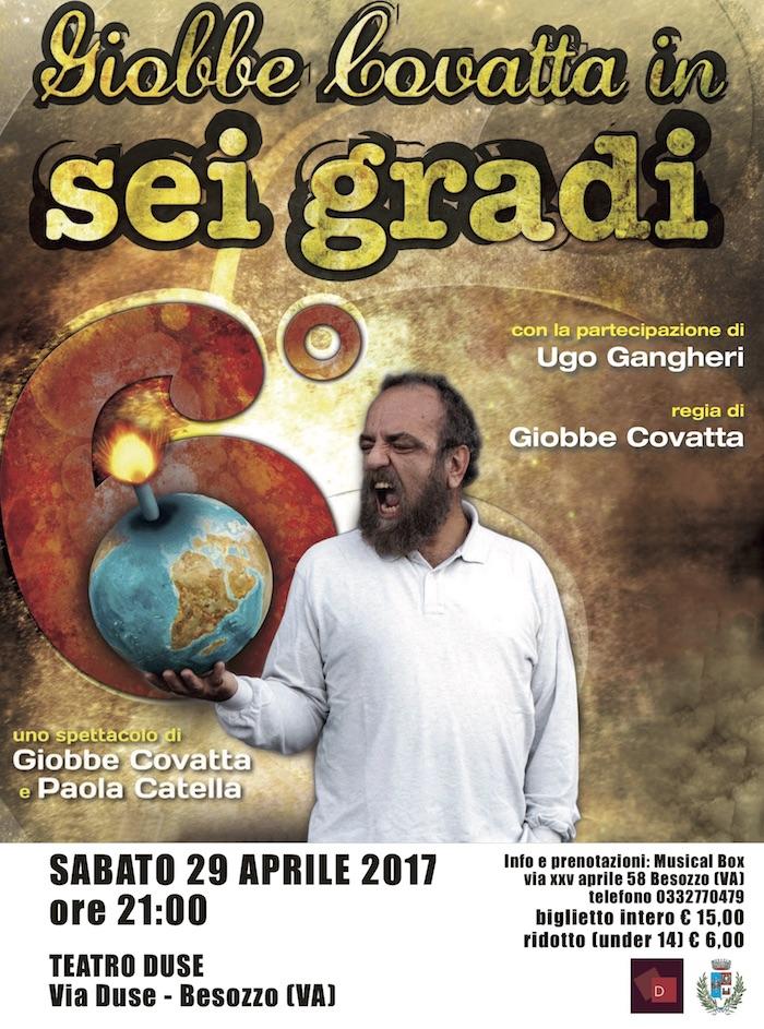 """Sabato al Teatro Duse di Besozzo Giobbe Covatta in scena con il suo """"6 gradi"""""""