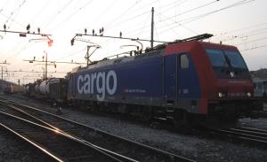 Un treno merce sulla linea Gallarate-Luino-Bellinzona