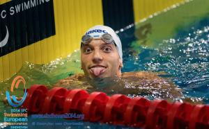 Federico Morlacchi, subito dopo la vittoria di oggi pomeriggio nei 100 stile libero categoria S9 (flickr.com)