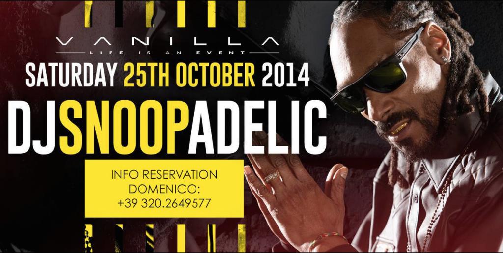 DJ Snoopadelic al Vanilla di Riazziono sabato 25 ottobre (facebook.com)