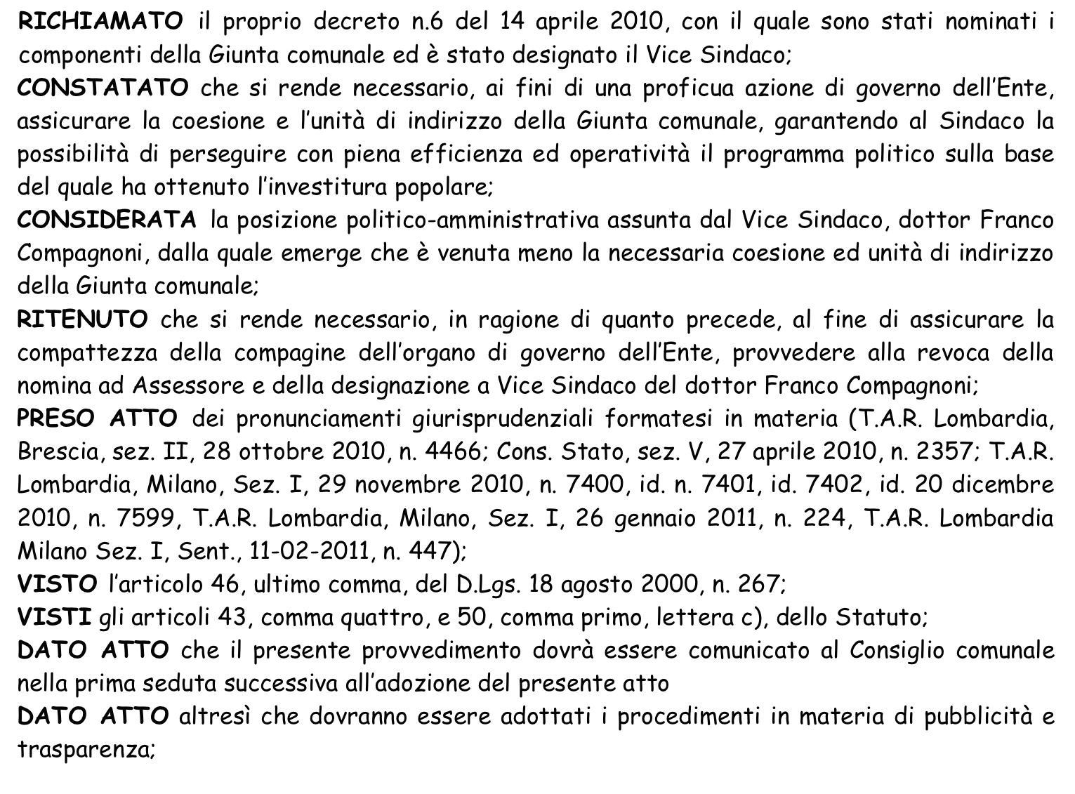 Comune di Luino - Il decreto di revoca agli incarichi di Franco Compagnoni (comune.luino.it)