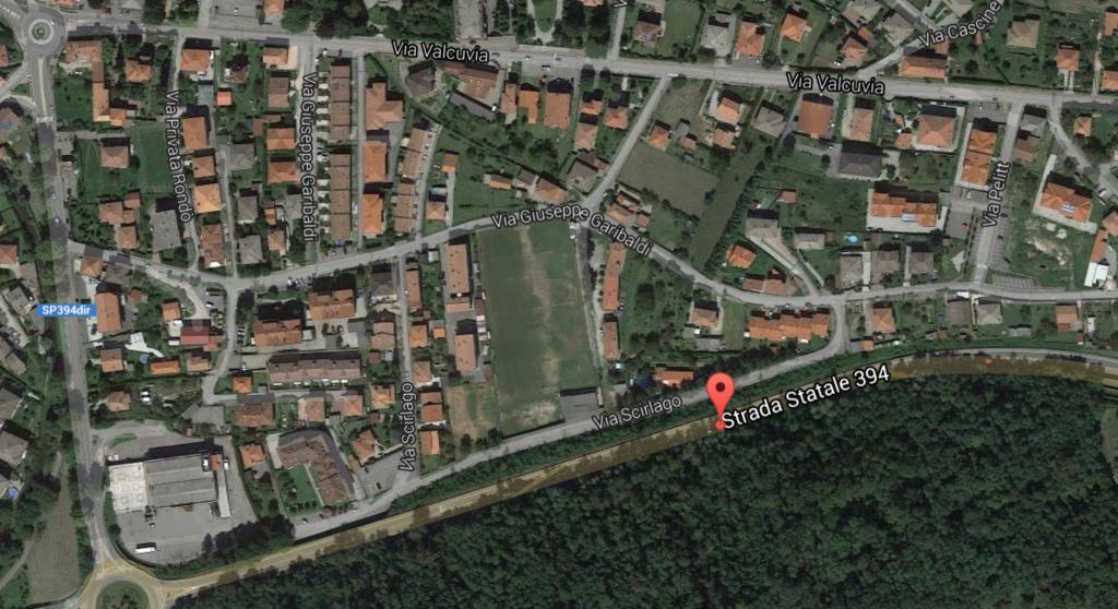 Cittiglio, il tragico luogo dell'incidente di questo pomeriggio (google.maps.it)