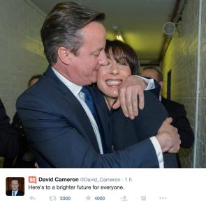 Il tweet di Cameron per celebrare la vittoria sul suo profilo Twitter