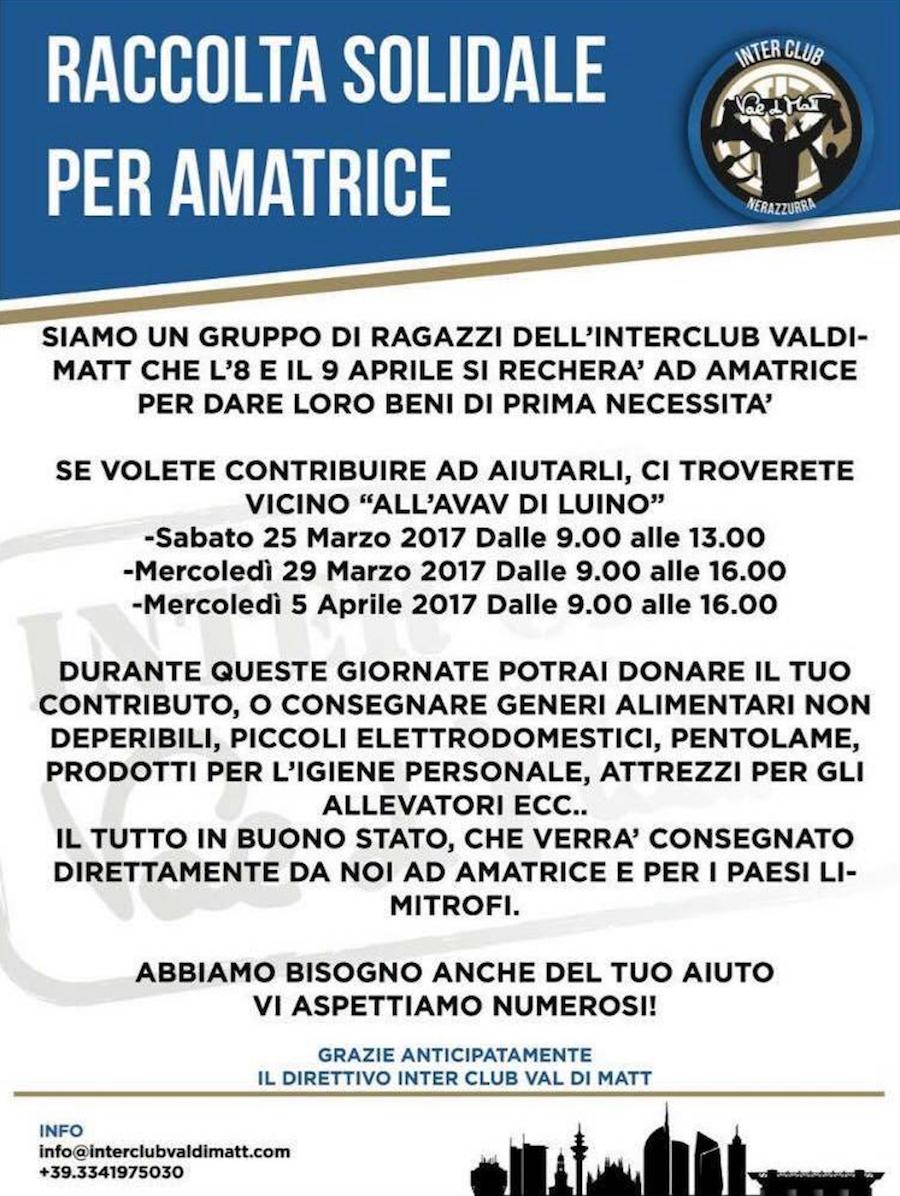 Luino, l'Inter Club Val di Matt organizza raccolta fondi e beni a sostegno di Amatrice