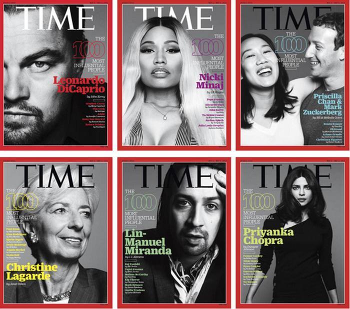 Le copertine del Time dedicate alla Top 100 dei personaggi più influenti (ANSA)
