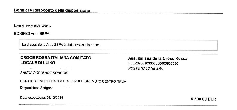 """CRI Luino, altri 5300 euro per i terremotati del Centro Italia. """"Un grazie a persone e commercianti"""""""