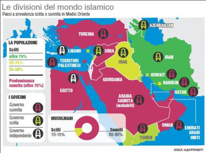 Mappa dei Paesi sunniti e di quelli sciiti in Medio Oriente (© ANSA)