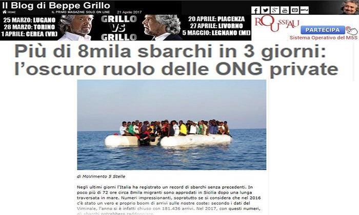"""Migranti, Grillo denuncia: """"Escalation arrivi non è casuale. Ruolo oscuro delle Ong private"""""""