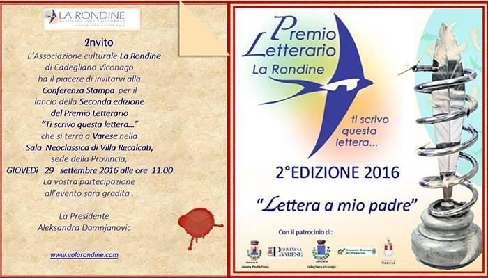 """Varese: L'associazione culturale La Rondine presenta la seconda edizione del Premio Letterario """"Ti scrivo questa lettera"""""""