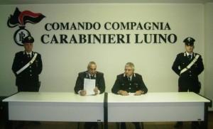Il Capitano D'Aveni ed il maresciallo Castellano durante la conferenza stampa di questa mattina