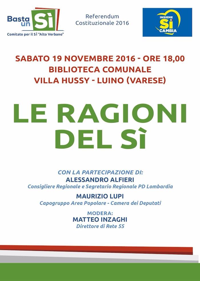 """Referendum, """"Le Ragioni del Sì"""": sabato in biblioteca a Luino incontro con Alfieri e Lupi"""