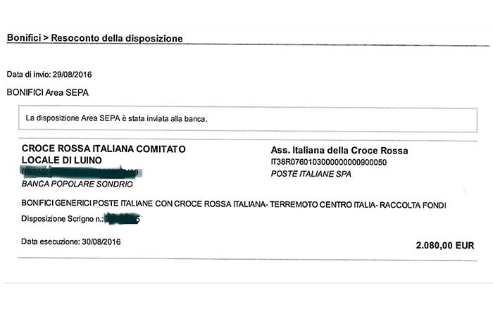 Oltre 2mila euro raccolti dalla Croce Rossa di Luino per i terremotati