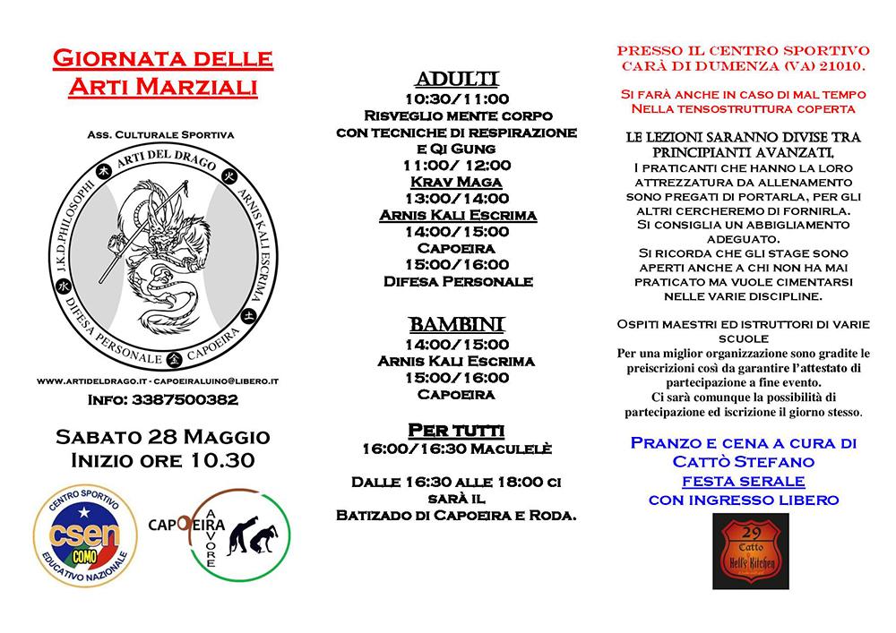 """""""Giornata delle arti marziali"""": sabato 28 maggio Dumenza si popola di guerrieri"""