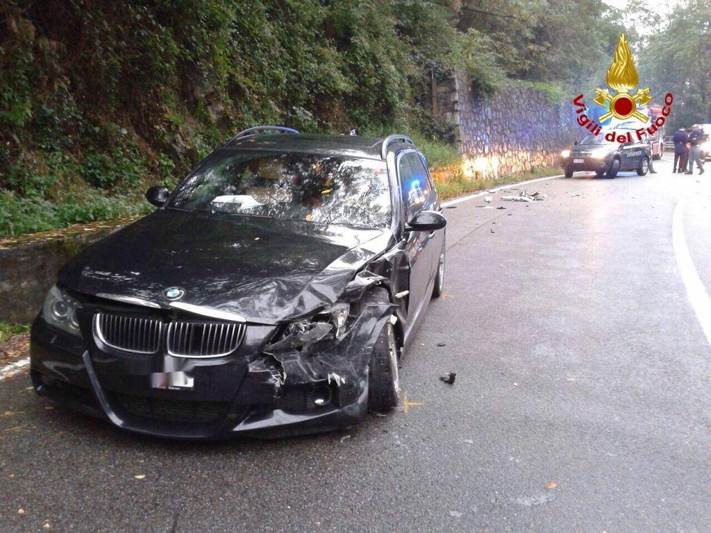 L'incidente di ieri pomeriggio, sulla statale 394, a Maccagno con Pino e Veddasca