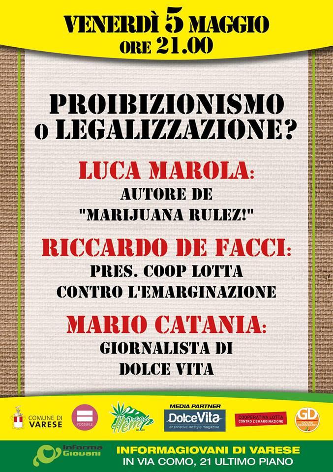 """Cannabis, """"Proibizionismo o legalizzazione?"""". Venerdì incontro a Varese per discutere sul tema"""
